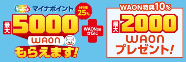 イオンカード限定!WAON×マイナポイントで合計7,000円ポイントをゲットしよう